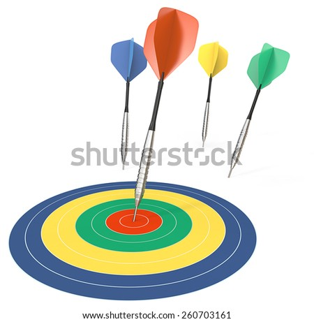 Performance. 4 Dart arrows. One hitting target. Color theme. - stock photo