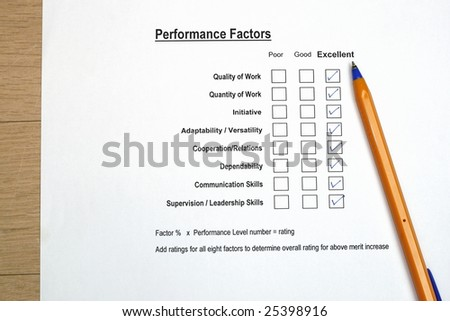 Performance evaluation survey - stock photo