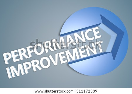 Performance Improvement - text 3d render illustration concept with a arrow in a circle on blue-grey background