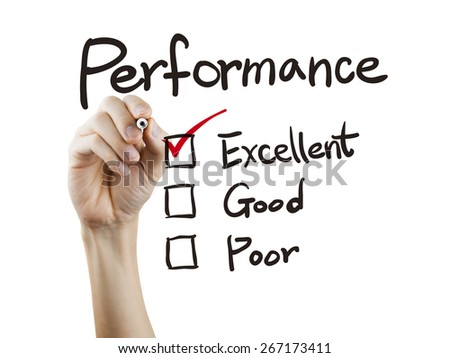 performance list checking by hand over white background