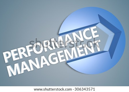 Performance Management - text 3d render illustration concept with a arrow in a circle on blue-grey background
