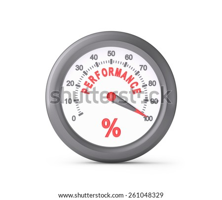 Performance Meter Indicate Maximum , isolated on white , 3d render - stock photo