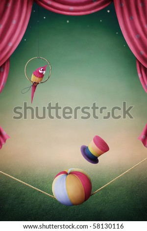 Performance of a parrot, a ball and a hat. - stock photo