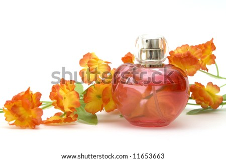 perfume and flower - stock photo