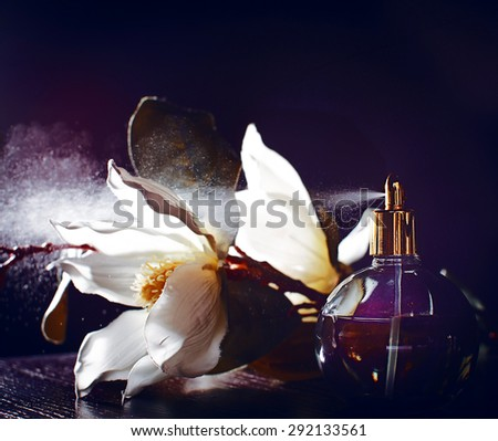 perfume and flowers - stock photo
