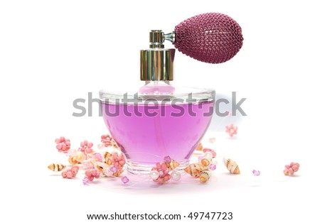 Perfume and necklace isolated on white background. - stock photo