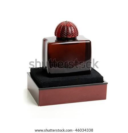 perfume bottle isolated on a white background - stock photo