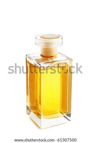 Perfume bottle isolated on white - stock photo