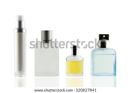 Perfume bottle isolated white background, use clipping path. - stock photo