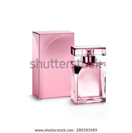 Perfume bottle on white background - stock photo