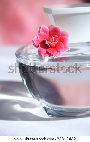 perfume bottle with red flowers with reflection - stock photo