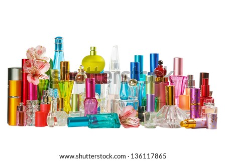 Perfume bottles isolated on the white background - stock photo
