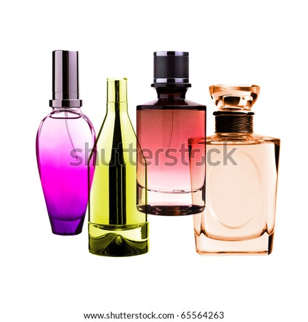 Perfume bottles isolated on white - stock photo