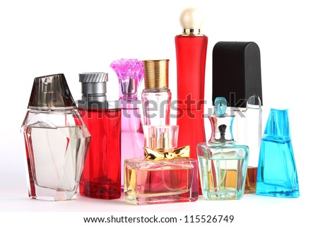 Perfume Bottles over white - stock photo