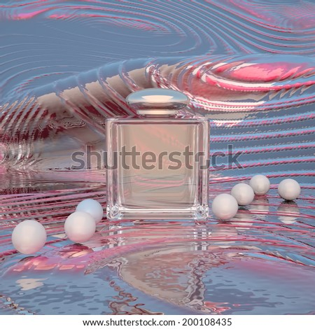 Perfume in a glass bottles and pearl beeds on a color background. - stock photo