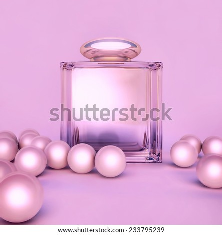 Perfume in a glass bottles and pearl beeds on lilak. - stock photo