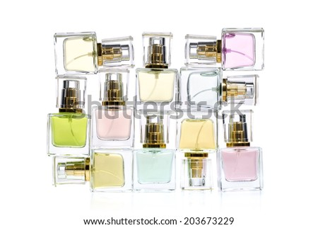 Perfume in bottles over white background