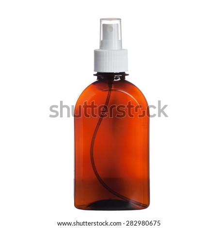 perfume in brown bottle, with white cover isolated on white background - stock photo