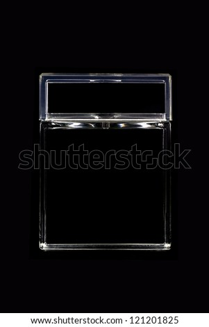 perfume package on black background - stock photo