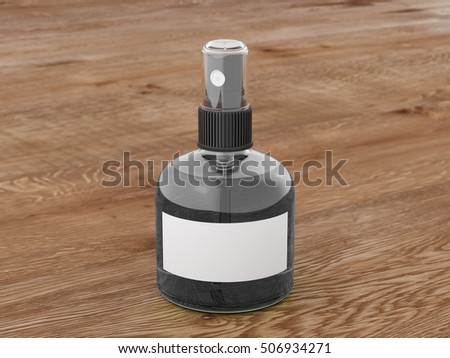 Perfume spray bottle with dark liquid isolated on wooden background. 3d render mockup
