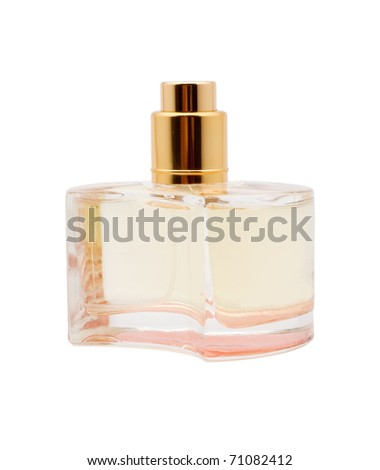 perfumes in the yellow bottle, isolated, white background - stock photo