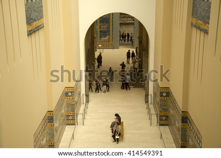 PERGAMON MUSEUM, BERLIN - GERMANY, APRIL 21, 2016: The Pergamon Museum is situated on the Museum Island in Berlin. It's subdivided into the antiquity, the Middle East, and the museum of Islamic art. - stock photo