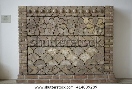Pergamon museum in Berlin, Germany, April 21, 2016: antique decoration in Pergamon Museum, which is subdivided into the antiquity collection, the Middle East museum, and the museum of Islamic art.  - stock photo