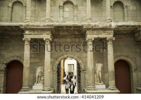 Pergamon museum in Berlin, Germany, April 21, 2016: antique wall in Pergamon Museum, which is subdivided into the antiquity collection, the Middle East museum, and the museum of Islamic art.  - stock photo