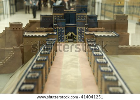 Pergamon museum in Berlin, Germany, April 21, 2016: mockup in Pergamon Museum, which is subdivided into the antiquity collection, the Middle East museum, and the museum of Islamic art.  - stock photo