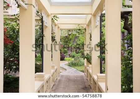 Pergola and plant in a garden - stock photo