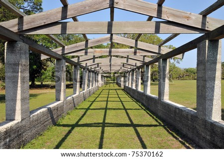 Pergola at the Dungeness ruins at Cumberland Island, Georgia, on a sunny spring day - stock photo