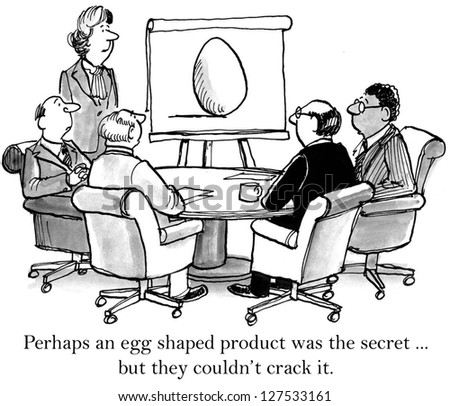 Perhaps an egg shaped product was the secret, but they couldn't crack it. - stock photo