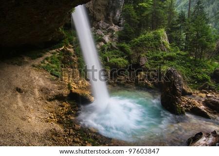 Pericnik waterfall in the National Park of Triglav, Julian Alps, Slovenia. - stock photo