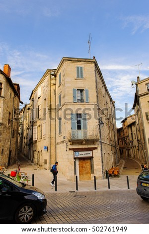 PERIGUEUX, FRANCE - OCT 11, 2016: Architecture of Perigueux, France. The town is the seat of a Roman Catholic diocese.