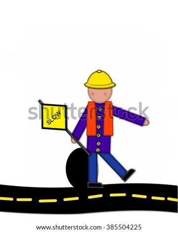 """Period, in the alphabet set """"Children Highway Construction,"""" is black and outlined with white.  Child stands or sits on highway holding highway construction signs. - stock photo"""