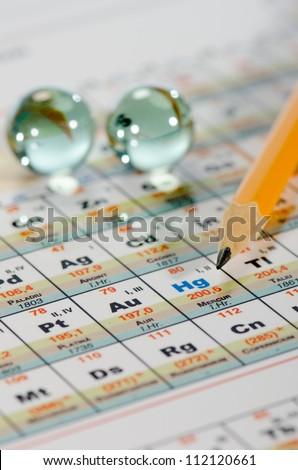 Periodic table,  lead pencil close up - stock photo