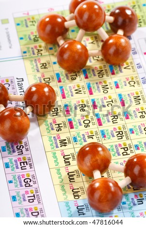 Periodic table of chemical elements with wood molecule - stock photo