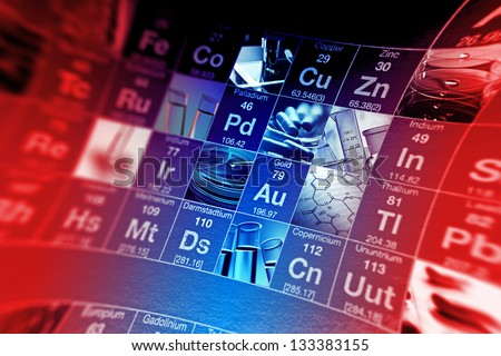 Periodic table of elements and laboratory tools. Science concept. Pincushion lens use. - stock photo