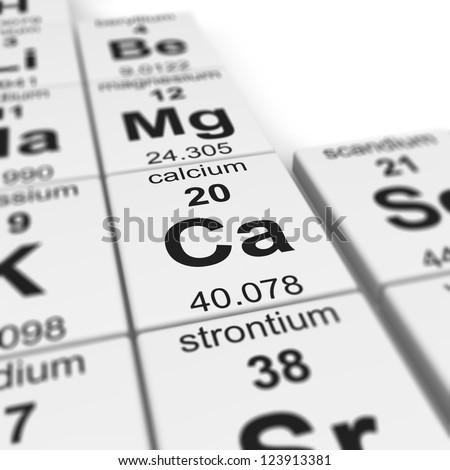 periodic table of elements, focused on calcium - stock photo