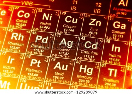 Periodic table of elements in red tones. Selective focus. - stock photo