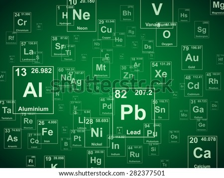 Periodic table of the elements. Green background illustration  - stock photo