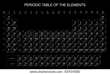 Periodic Table of the Elements on black background - stock photo