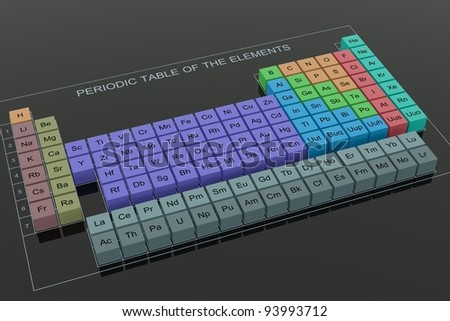 Periodic Table of the Elements - perspective on black glass background - stock photo