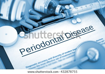 Periodontal Disease, Medical Concept with Pills, Injections and Syringe. Periodontal Disease - Printed Diagnosis with Blurred Text. 3D. - stock photo