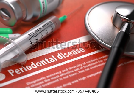 Periodontal disease - Printed Diagnosis with Blurred Text on Orange Background and Medical Composition - Stethoscope, Pills and Syringe. Medical Concept. - stock photo