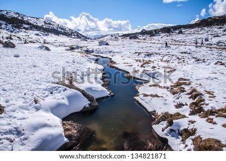 Perisher blue, snow mountain in NSW/AUSTRALIA - stock photo