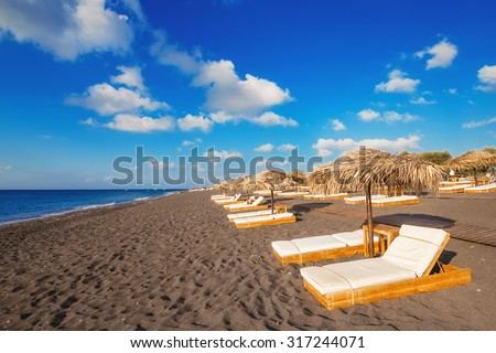 Perissa beach (Black Beach) on Santorini island, Greece - stock photo