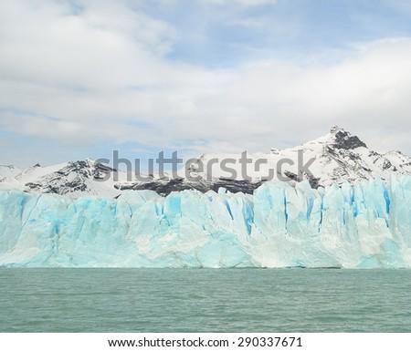 Perito Moreno Glacier and mountains in argentinian Patagonia, near the Chilean border - stock photo