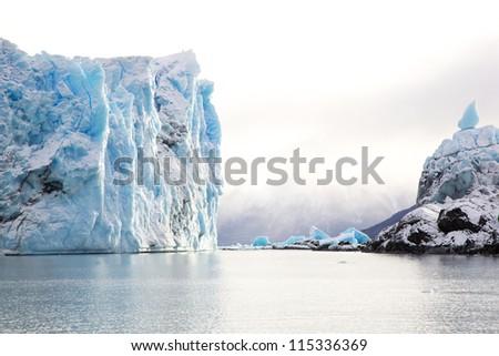 Perito Moreno Glacier in Patagonia, Argentina during winter - stock photo