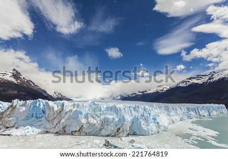 Perito Moreno Glacier in the Los Glaciares National Park, Argentina.  - stock photo